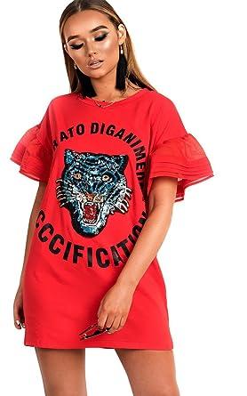 547d60eb9506c4 Ikrush Womens Kyro Slogan Embellished T-Shirt Dress Rose: Amazon.co.uk:  Clothing