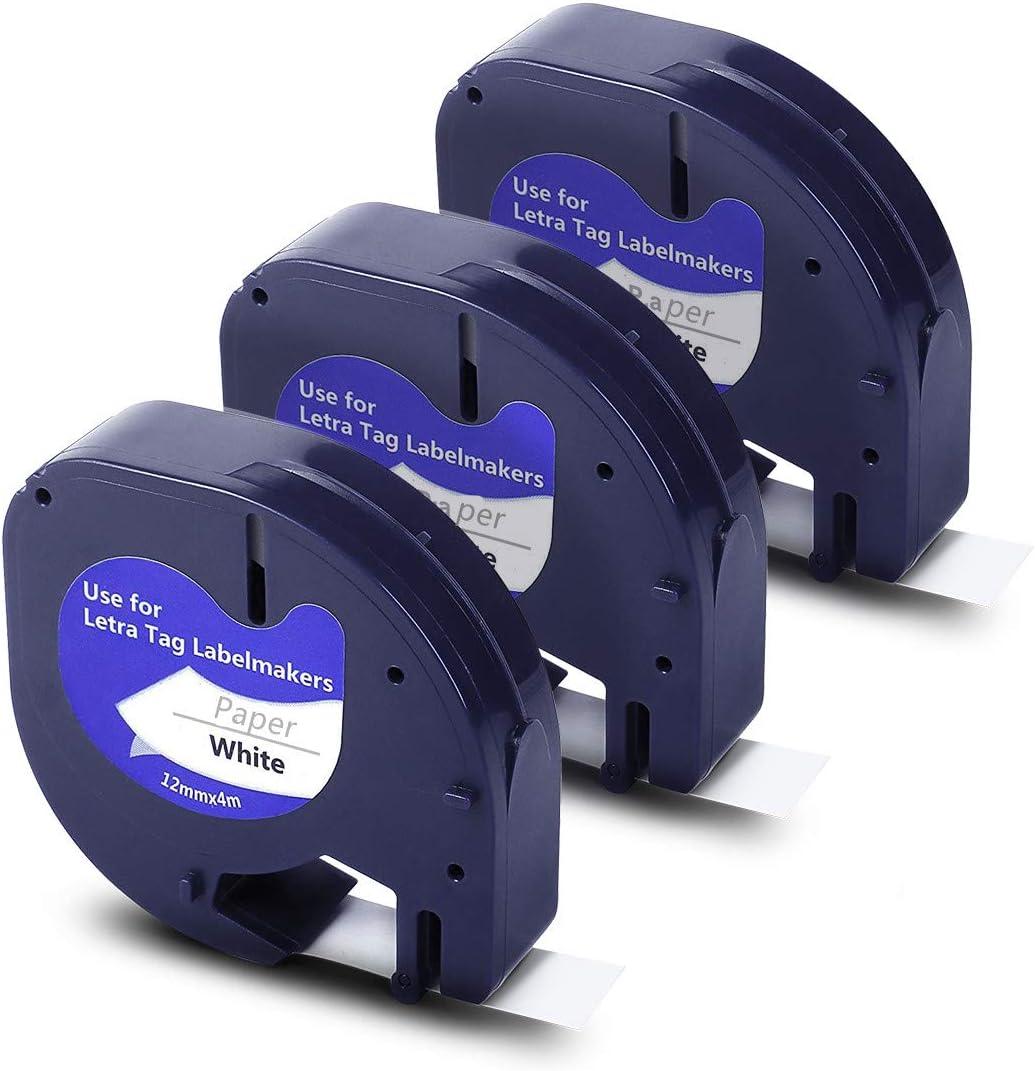 متوافق مع شريط التسمية للتبديل لملصقات Dymo Letratag 91330 10697، أسود على ورق أبيض لعمل علامات DYMO LetraTag LT-100H Plus الطابعة ، 12 مم × 4 متر 1/2 بوصة × 13 بوصة ، 3 عبوات