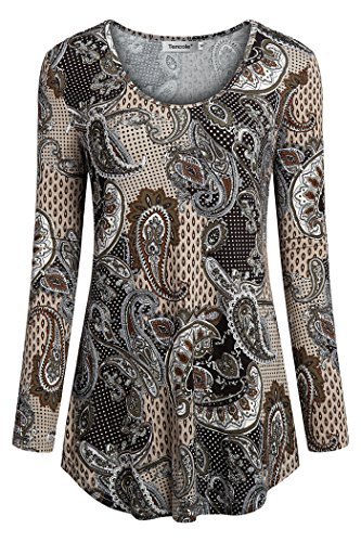 - Tencole Women Long Sleeve Tops for Work Womans X Large Tops Printed Tunic Shirts Plus Size Blouses Womens Tunic Tops for Leggings Brown XL