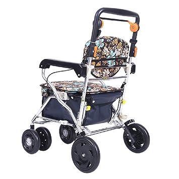 Carro de compras plegable para ancianos Carro de aluminio para caminar Utilizado para comprar comida Compras