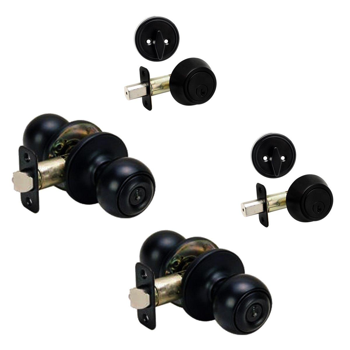 2 - Ashland Matte Black Entry Knob with Matching Single Cylinder Deadbolt Combo Packs Keyed Alike (We Key Lock Orders Alike for Free)