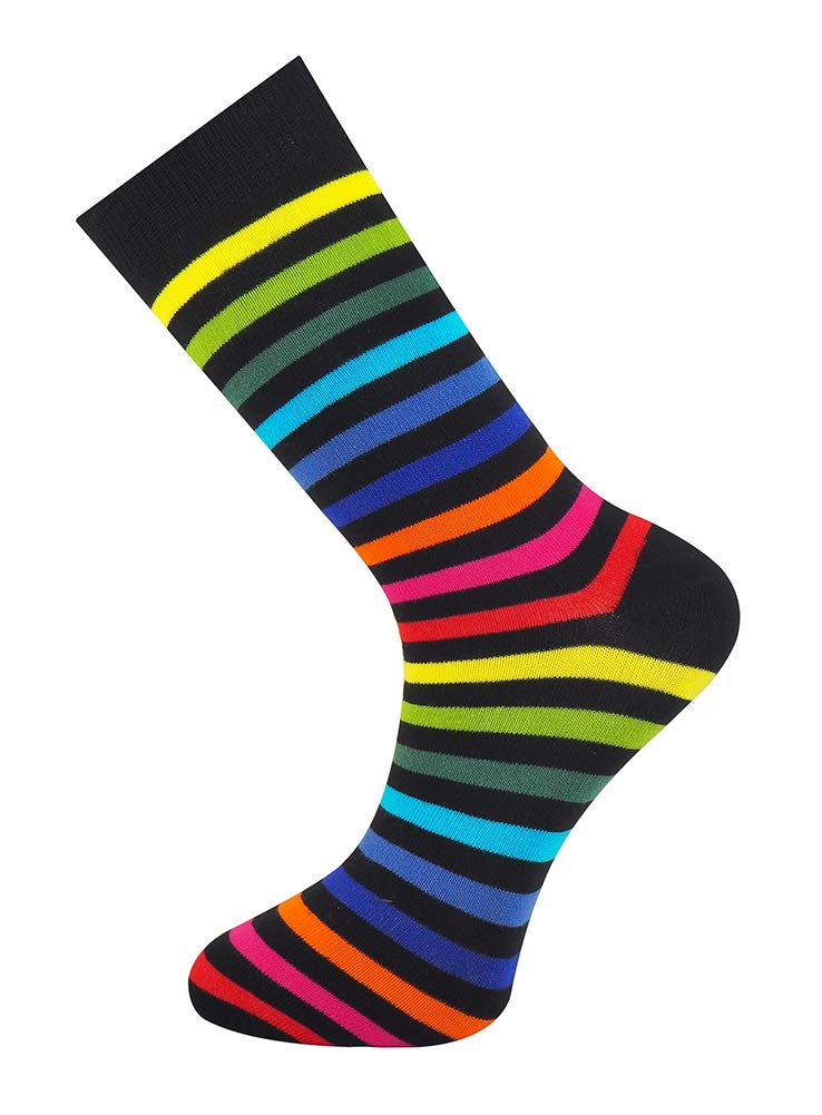 Mysocks® Men and Womens Rainbow Colour Bright Fun Combed Cotton Socks R41NB0Wk