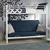 Sturdy Metal Twin-over-Futon Bunk Bed in White Finish