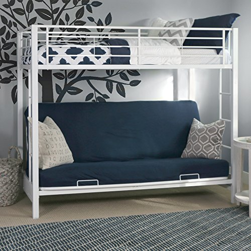 Sturdy Metal Twin-Over-Futon Bunk Bed in White Finish - Metal Frame Futon Bunk Bed