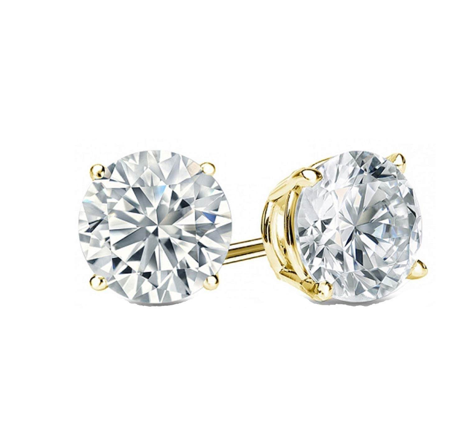2.0 ct Round Brilliant Cut Simulated Diamond CZ Solitaire Stud Earrings in 14k Yellow Gold Push Back by Clara Pucci (Image #1)