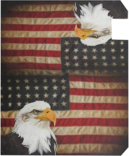 senya Magnetic Mailbox Cover Bald Bird with American Flag Standard Sized