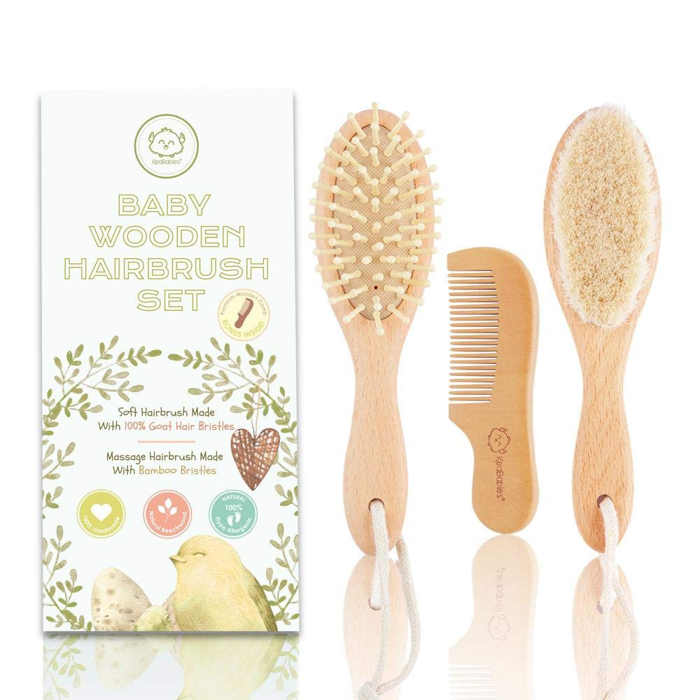 Baby Hair Brush and Comb Set for Newborn - Natural Wooden Hairbrush with Soft Goat Bristles for Cradle Cap - Perfect Scalp Grooming Product for Infant, Toddler, Kids - Baby Registry Gift by KeaBabies