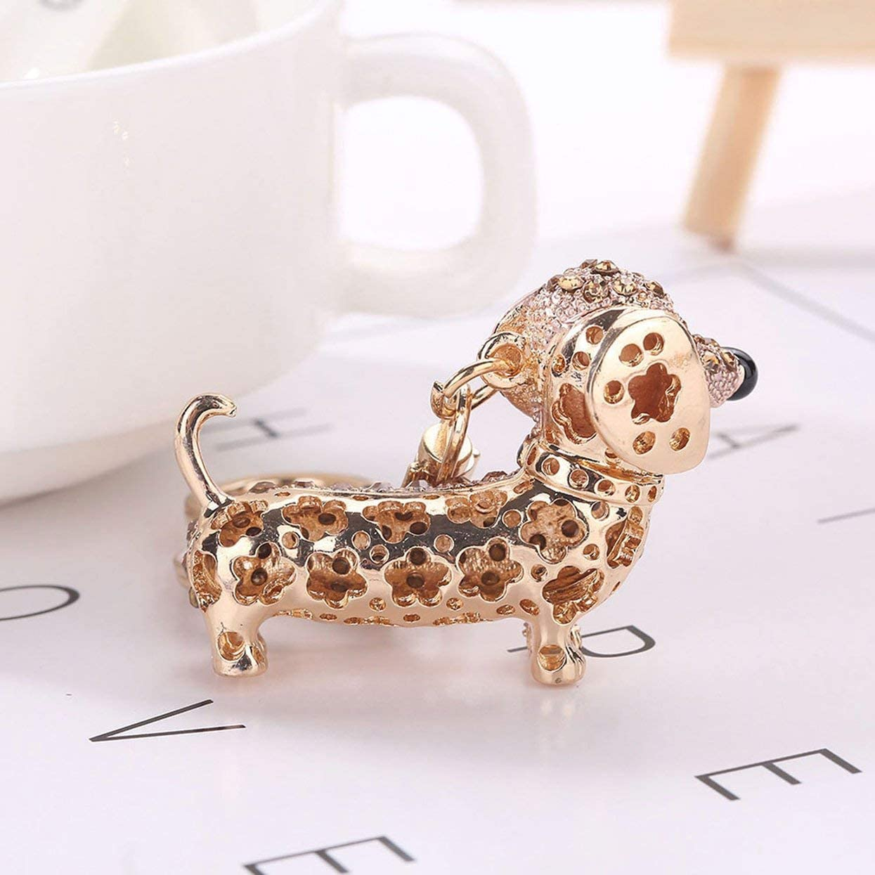 Detectorcatty Diamond Cute Puppy Keychain Bag Keyring Pendant Hanging Ornaments Decor BZ370 Essential Accessories