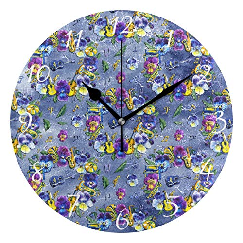 AHOMY Music Note Pansy Flower Number Wall Clock, 9.5 Inch Round Clock Silent Non-Ticking Battery Operated Easy to Read for Home Office School -