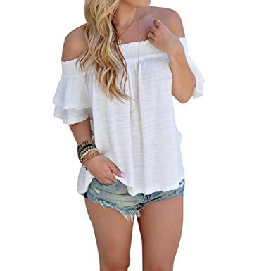 bc02d73f8e5 2018 Women Shirts Off Shoulder Blouse Short Sleeve Tops Casual