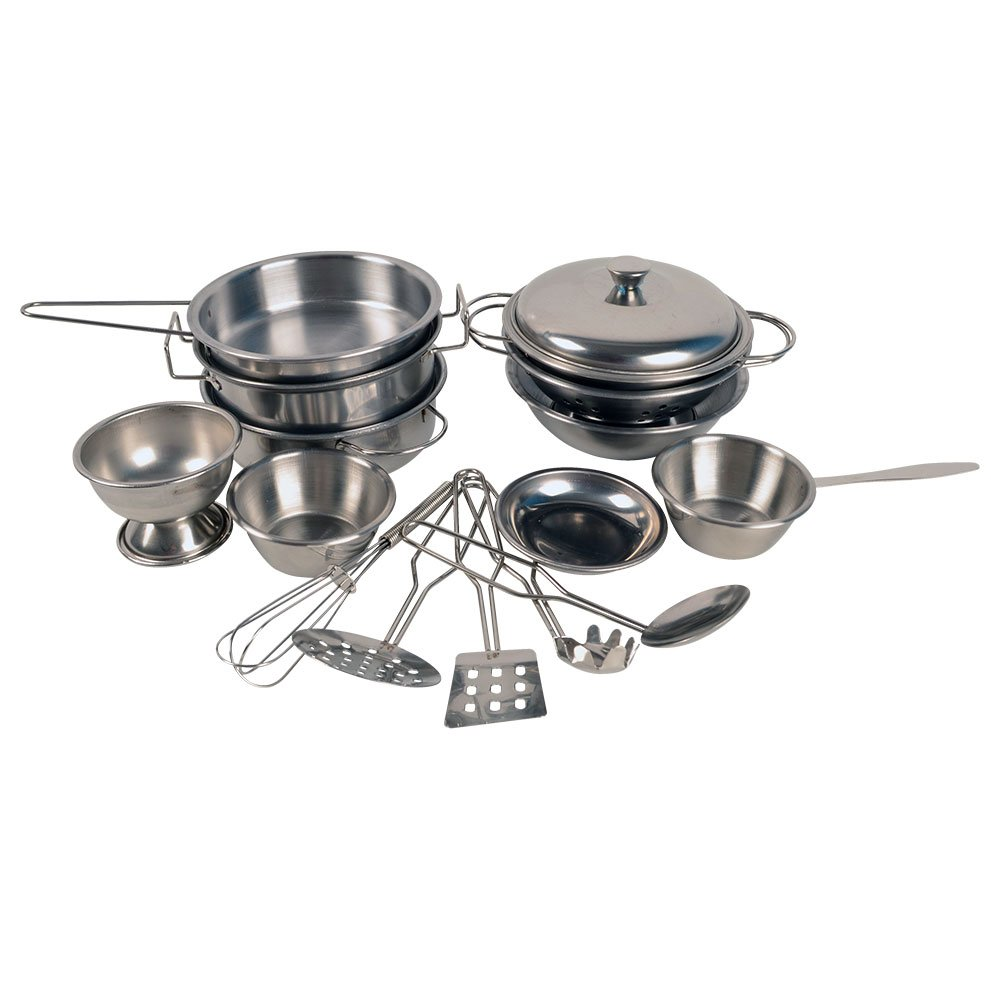 16pcs Miniature Toy Pots and Pans, Stainless Steel, Pretend Play Kitchen Set for Kids Generic
