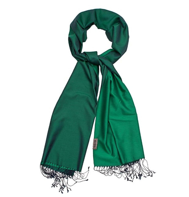 Aker Women's 100% Silk Shawl Double Sided 190 x 70cm Green #352