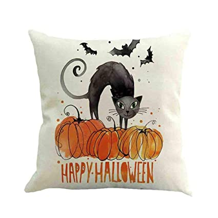 Amazon Pausseo Linen Cushion CoversHalloween Home Decoration Beauteous How To Decorate Bed With Pillows