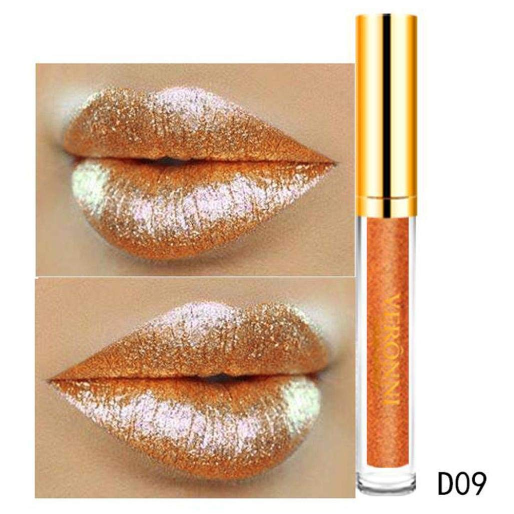 10 12 color womens magic glitter flip lipstick pull matte pearl lip gloss clu new fashion waterproof long-lasting liquid cosmetic sexy kit for women velvet charmed(Multicolor-C)
