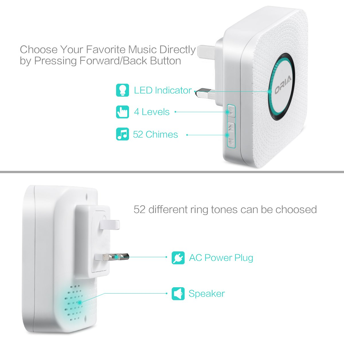 Portable Easy Chime Plug-in Wireless Doorbell Operating over 900 feet(open air), Range with 52 Chimes,CD Quality Sound and LED Flash.No Batteries Required by AMIR (Image #3)