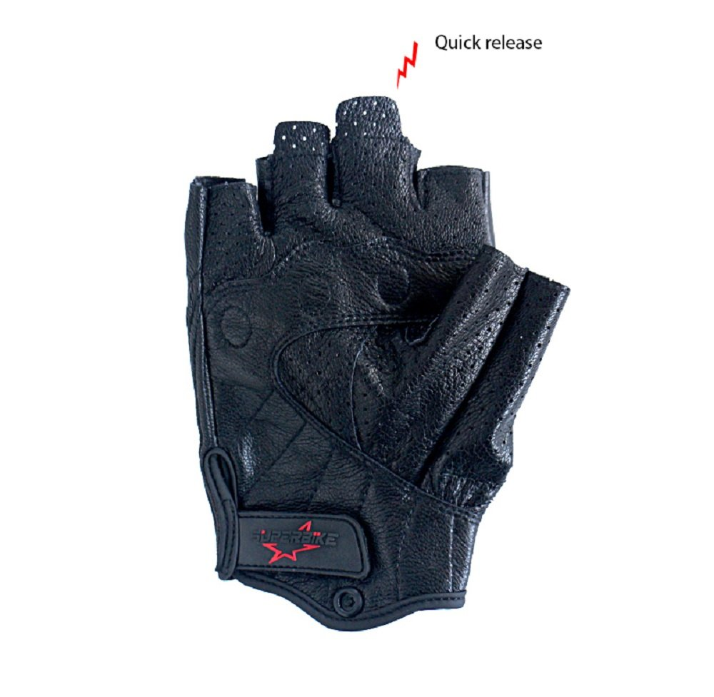 Men/'s Half Finger Motorcycle Gloves Breathable Genuine Leather Fingerless Motocross Gloves Breathable And Hard Knuckle Armored CA-G11-Black, XL