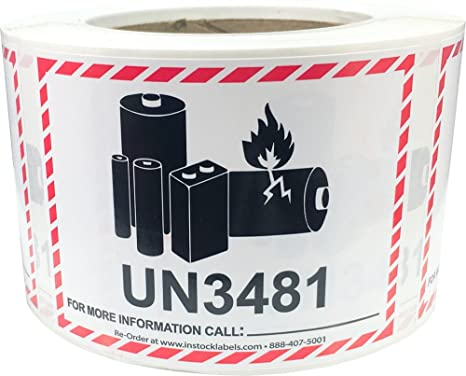 graphic relating to Printable Lithium Ion Battery Label named Warning Lithium Battery Labels UN3481 3.25 x 4.25 Inch 500 Sum Stickers for Scaled-down Systems Simply