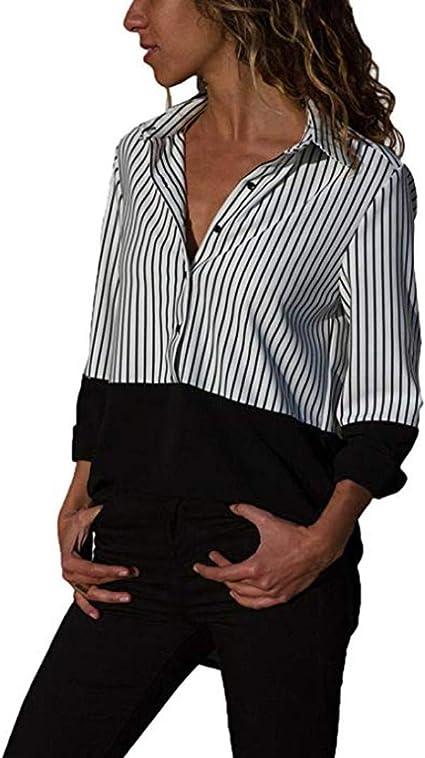 Mujer Camisas Primavera Verticales Rayas Otoño Blusas ...
