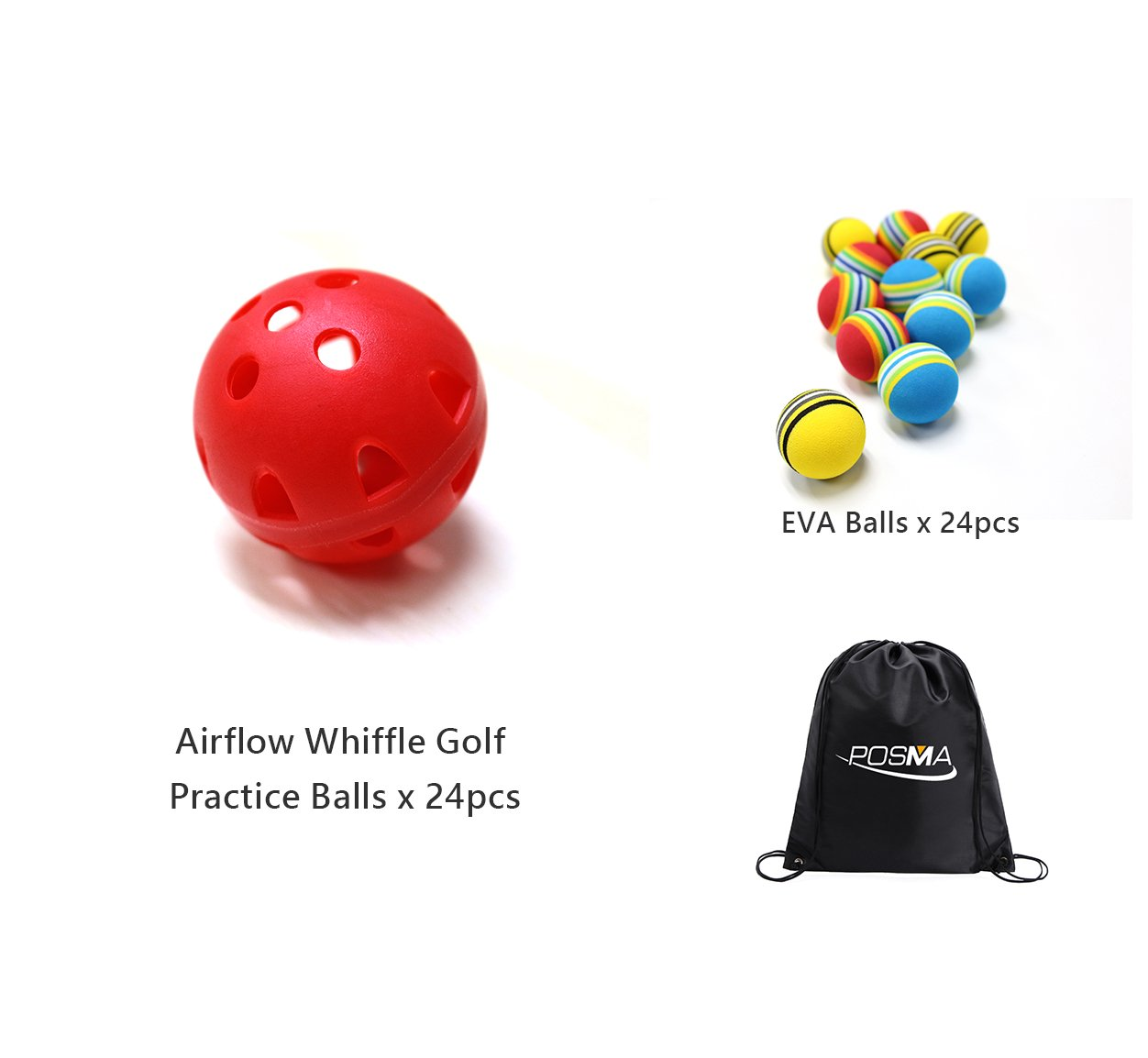 POSMA PB070A 24pcs Airflow Whiffle Golf Practice Ball Bundle Set with 24pcs Golf EVA Balls + 1pc Cinch Sack Carry Bag Golf Training Aid Chipping Hitting Trainer