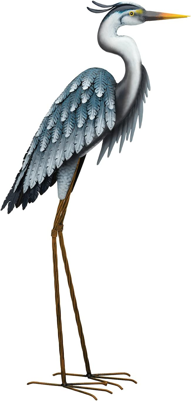 Regal Art & Gift Blue 19.25 inches x 8.75 inches x 41.50 inches Metal Heron Facing Down - Lawn and Garden Statuary