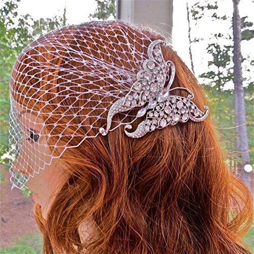Deco Style Butterfly Bridal Veil, Bandeau Wedding Veil for Bride