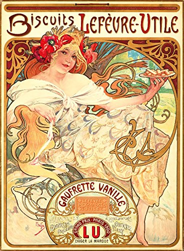 Biscuits Lefevre - Utile - Gaufrette Vanille Vintage Poster (artist: Alphonse Mucha) France c. 1900 (12x18 Art Print, Wall Decor Travel Poster)