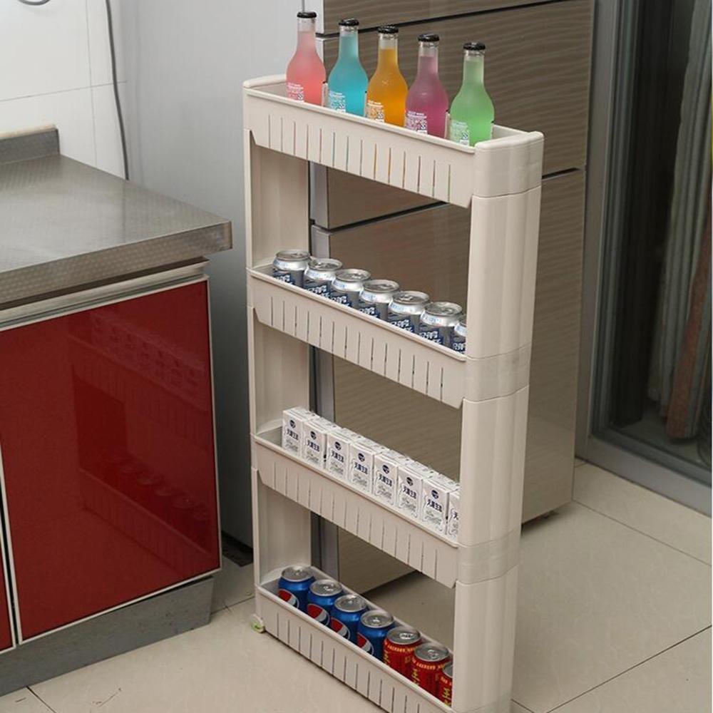 Z@SS-Bewegliche Regalwalzenspalt Schlitzweiteneinstellmittels Bad WC Küche Kühlschrank mehrschichtiges Kunststofflagerregal b Aufbewahren & Ordnen