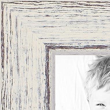 ArtToFrames 11x14 inch Eggshell Rustic Barnwood Wood Picture Frame, WOM0066-1343-YWHT-11x14