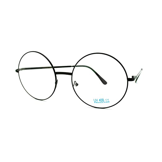 d8e2d31f9e5 Image Unavailable. Image not available for. Color  Super Oversized Round  Circle Frame Clear Lens Glasses Black