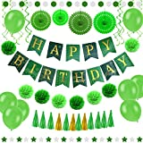 55 pcs Green Gold Birthday Party Decorations Set, Paper Fans, Balloons, Happy Birthday Banner, Pom Poms Flowers, Paper Garland, Swirls, Tassels for Adults and Kids Birthday Party Decoration by Enfy