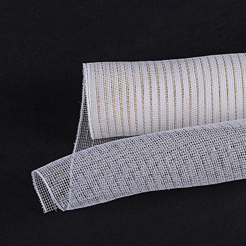 - Fuzzy Fabric 10 inch x 10 yards (30 feet) White with Gold Deco Poly Mesh Wrap Metallic Gifts for Home Decor