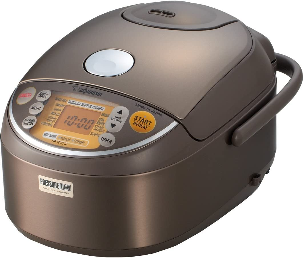 Zojirushi Induction Heating Pressure Rice Cooker Warmer 1.0 Liter, Stainless Brown NP-NVC10