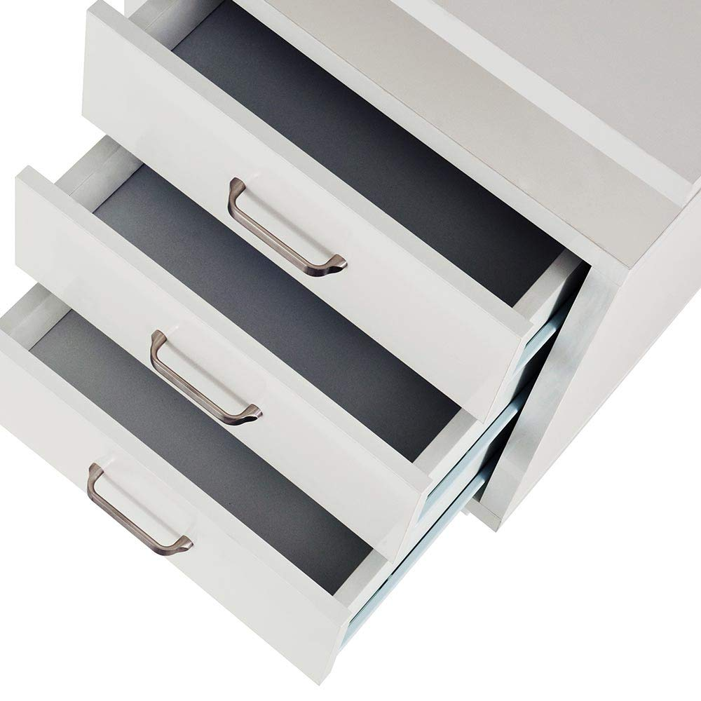 Beige BAKAJI Scrivania con Cassettiera 3 Cassetti Tavolo da Lavoro Porta Pc Computer in Legno con Struttura in Acciaio Arredamento Casa Ufficio Cameretta