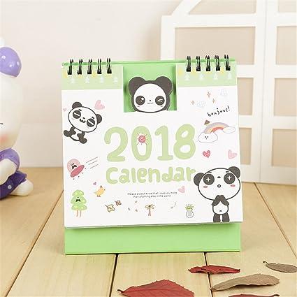 2018 Cartoon Panda - Calendario de mesa con tapa y función atril para el mes de la vista, para oficina, hogar, mesa, planificador de Navidad, calendario, portátil, regalo de año nuevo: Amazon.es: