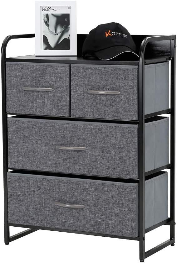 Kamiler 4-Drawer Dresser Storage, 3-Tier Organizer Tower Unit for Bedroom, Hallway, Entryway Closets - Sturdy Steel Frame, Wooden Top, Removable Fabric Bins: Home & Kitchen