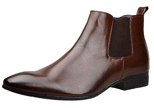 01b8888f28 Stivali da uomo, eleganti, stivaletti Chelsea in pelle nera, stile casual,  misure