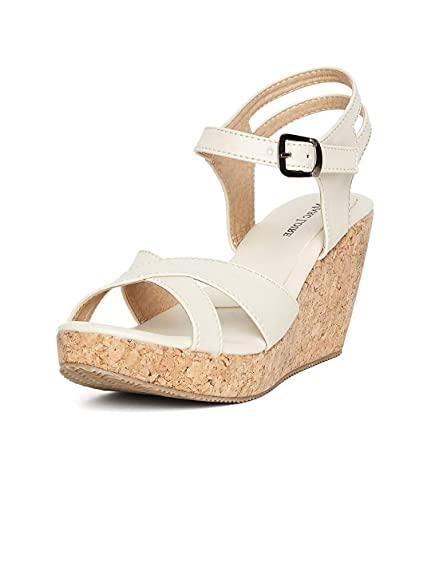 0b428e13742 MarcLoire Women Wedge Heels, Girls Fashion Sandals, Open Toe Wedge Sandals,  Buckle Type Heels - Height 4 Inches, Synthetic, Cream