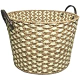 Storage Basket - Hand Woven Large Seagrass Rope Storage Baskets with Faux Leather Handles