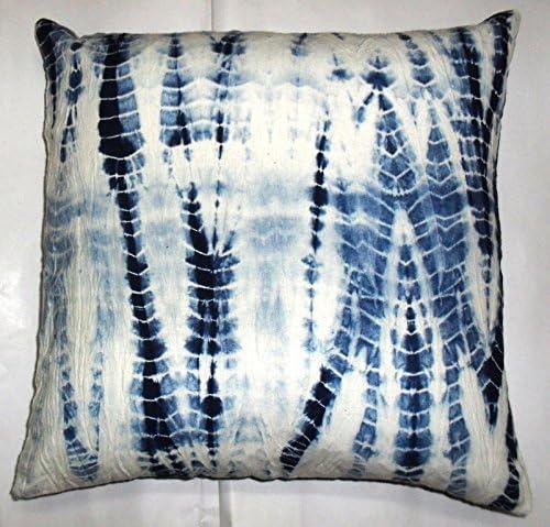"Set Of 2 Pcs Indian Hand Dyed Shibori Cushion Cover 16/"" Indigo Round Pillow Case"