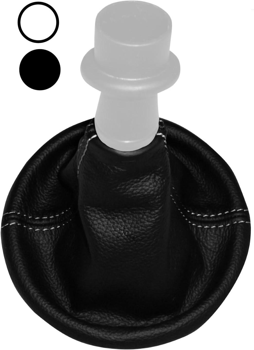 Soufflet de levier de vitesse en 100/% CUIR v/éritable noir avec coutures blanches AERZETIX