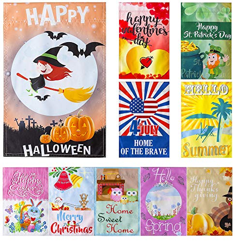 Durable 12 x 18 Inch Seasonal Garden Flag Set for Outdoors | 10 Quality Double-Sided Garden Flags | Double-Stitched, Weather Resistant, Mildew Resistant, UV Fade-Resistant, and Non-Transparent