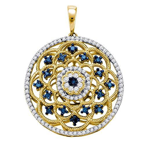 Yellow Gold Ladies Blue Colored Diamond Circle Pendant 1/2 Carat tw (Blue Diamond Circle Pendant)