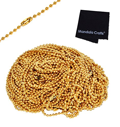 Mandala Crafts Wholesale Adjustable Long Stainless Steel Unisex Dog Tag Necklace Bracelet Key Small Bead Ball Chain (24 Inches 20 Count, Gold Tone) (Stainless Chain Wholesale Steel)