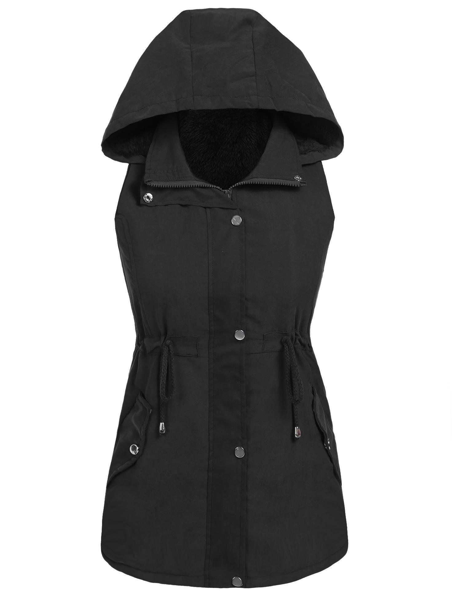 Hufcor Womens Lightweight Sleeveless Military Drawstring Zipper Vest Jackets With Pocket(Black,S)