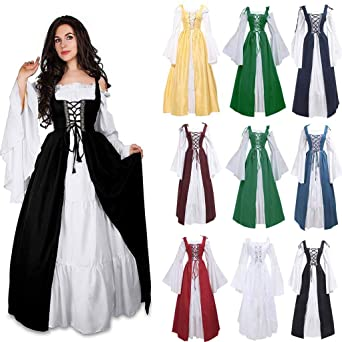 467524bb50410 Amazon.com: Alangbudu Irish Renaissance Costume Womens Cold Shoulder Criss  Cross Straps Medieval Over Dress and Chemise Boho Set: Clothing