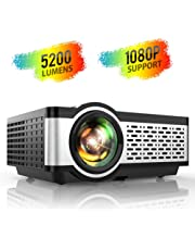 "TOPTRO Projector,5200 Lumens LCD Mini Video Projector with Built in Hi-Fi Speakers Keystone Correction,Support 1080P  HD 200"" Display,Home/Outdoor Cinema Projector for Smartphone/PC/TV Stick/PS4/XBox"