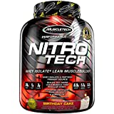 MuscleTech NitroTech Protein Powder, 100% Whey Protein with Whey Isolate, Birthday Cake, 4 Pound