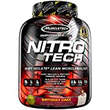 MuscleTech NitroTech Protein Powder, 100% Whey Protein with Whey Isolate, Birthday Cake, 4 Pound