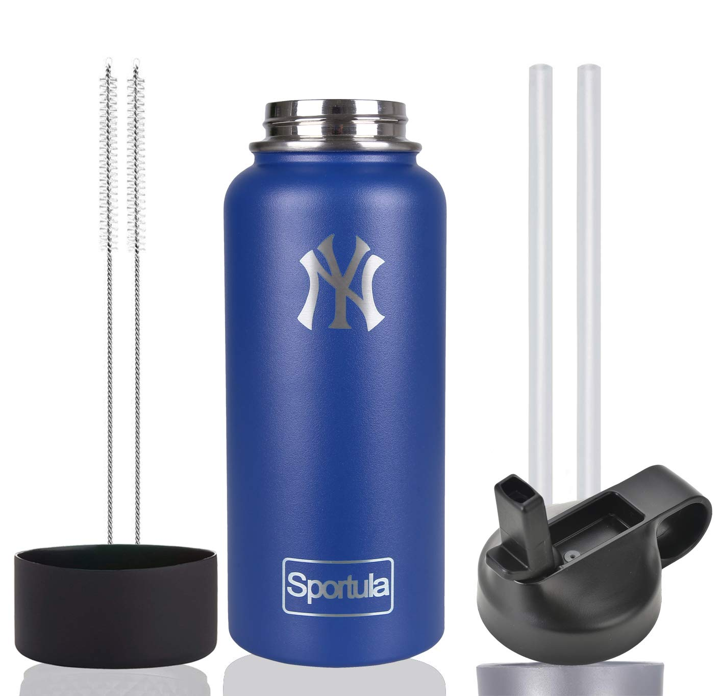 Sportula MLB 40 oz Water Bottle - Stainless Steel & Vacuum Insulated - Wide Mouth with Straw Lid - 2 Straws & 2 Brushes and 1 Protective Boot (Cobalt New York Yankees) by Sportula