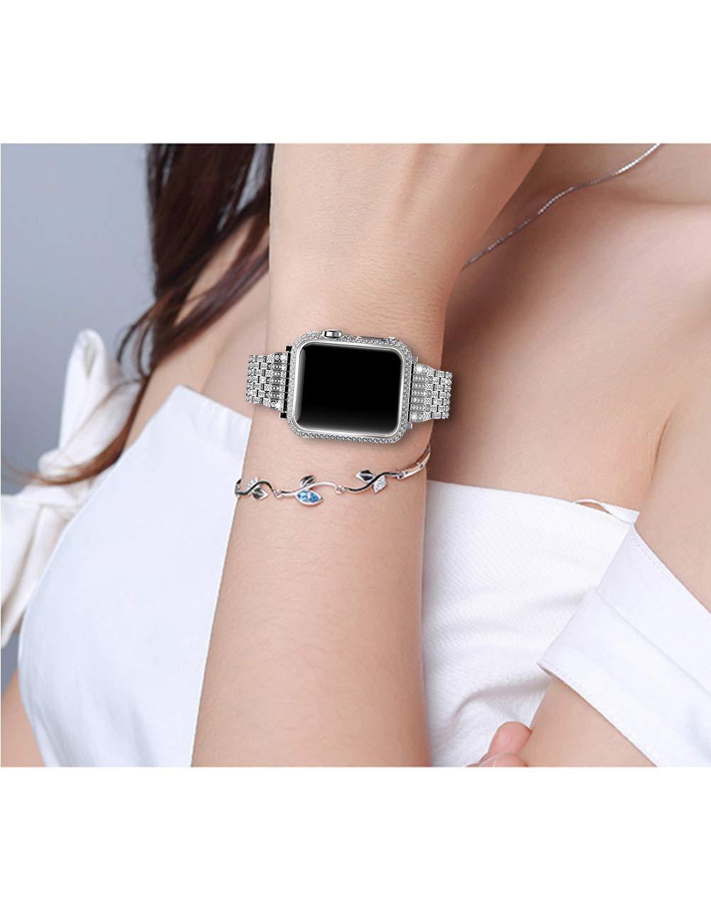 Xihuan 42Mm / 38Mm Handarbeit Diamant-Uhrengehäuse Verkrustete Strass Diamant-Uhrengehäuse Handarbeit Kompatibel Apple Watch Serie 3 2 1 55723c